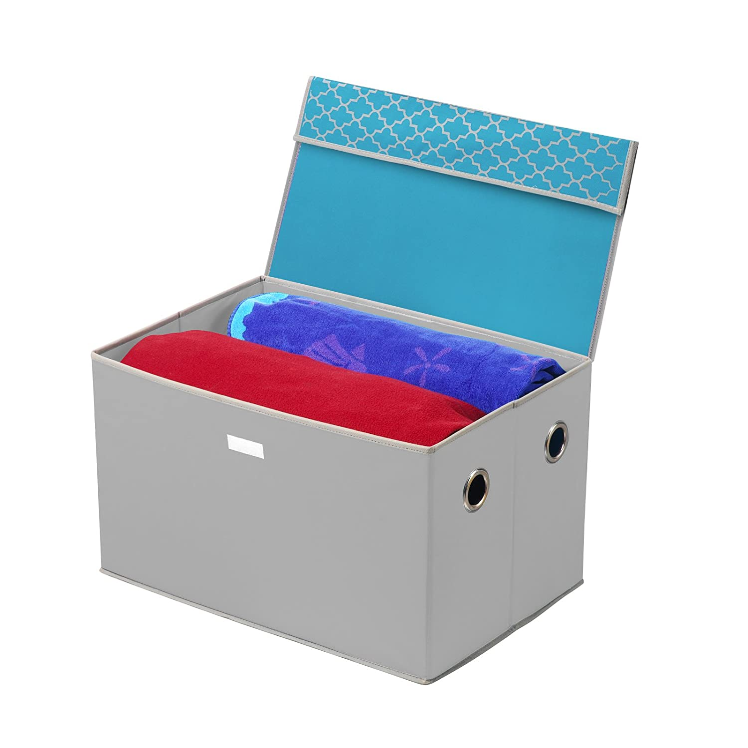 Amazon.com: Collapsible Storage Trunk   Turquoise/Gray: Kitchen U0026 Dining