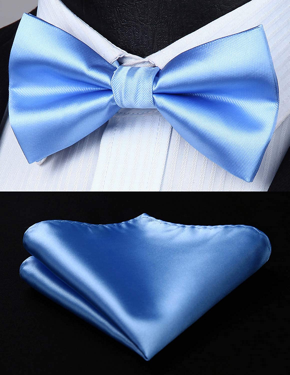 HISDERN Solid White 6 Clips Suspenders and Bow Tie Set Y Shape Adjustable Braces