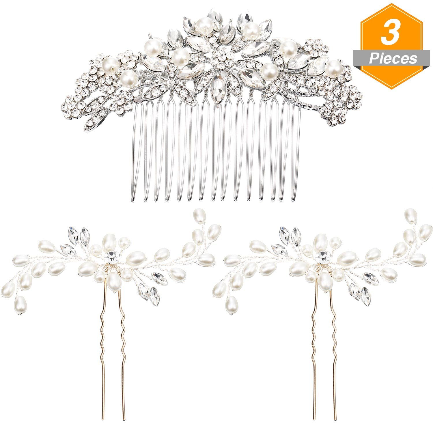 Gejoy 3 Pieces Elegant Wedding Crystal Hair Accessories, Leaves Flowers Hair Comb and 2 Pieces Rhinestone Bridal Hair Pins for Women, Bride or Bridesmaid