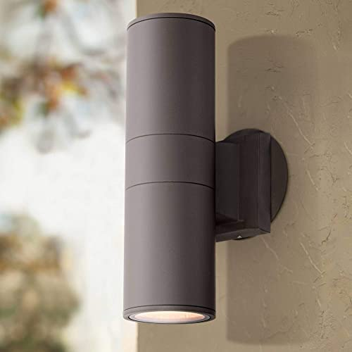 Ellis Modern Outdoor Sconce Light Fixture Bronze Cylindrical 11 3/4″ Tempered Glass Lens Up Down