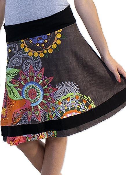 Coton Du Monde-Falda BRITANY 2, color Gris multicolor 46: Amazon ...