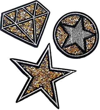 b2see Strass Glitzer Stern Sterne Aufn/äher Patches Applikationen mit Strass Pailletten Glitzer Set gro/ß zum aufb/ügeln 4 St/ück Glitzer Sterne je 8-10 cm