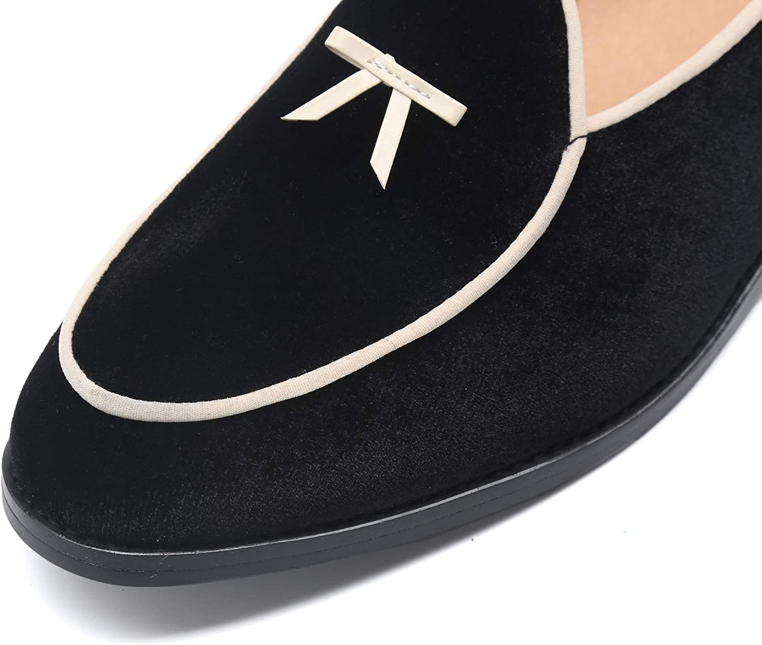 Santimon Boat Shoes Men Penny-Loafers Dress Shoes Smoking-Slippers Casual Bow Velvet Slip-on Flats