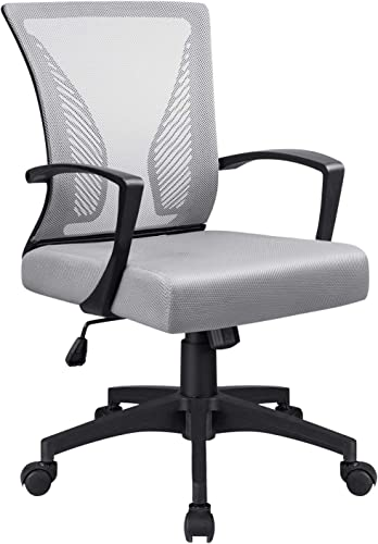 VICTONE Office Mid Back Mesh Chair Ergonomic Swivel Lumbar Support Desk Computer Chair Grey