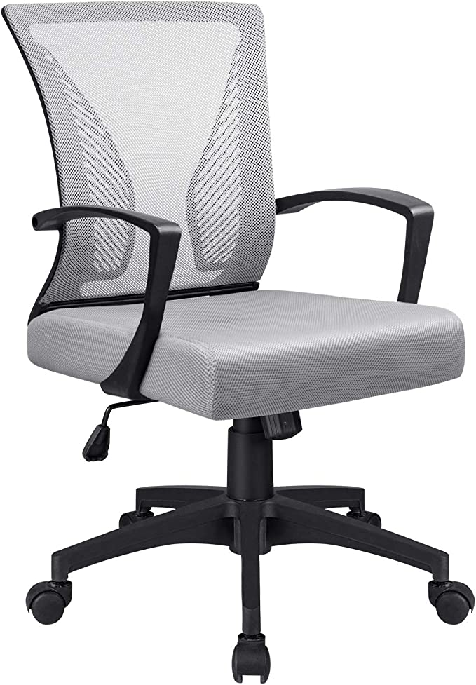 Amazon.com: VICTONE Office Mid Back Mesh Chair Ergonomic Swivel Lumbar Support Desk Computer Chair (Grey): Furniture & Decor