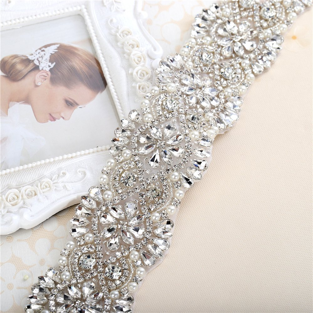 Silver pink gold Rhinestone Beaded Wedding Dress Applique Sparkly for Bridal Ribbon Belt Iron on Crystal Thin Jeweled Sash Applique for Women Formal Prom Evening Bridesmaid Gown