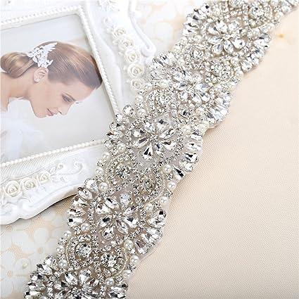 XINFANGXIU Wide Crystal Sash Rhinestone Beaded Belt Applique with Jeweled  Diamond Embellishments for Bridal Wedding Dress 193b2d819ba4
