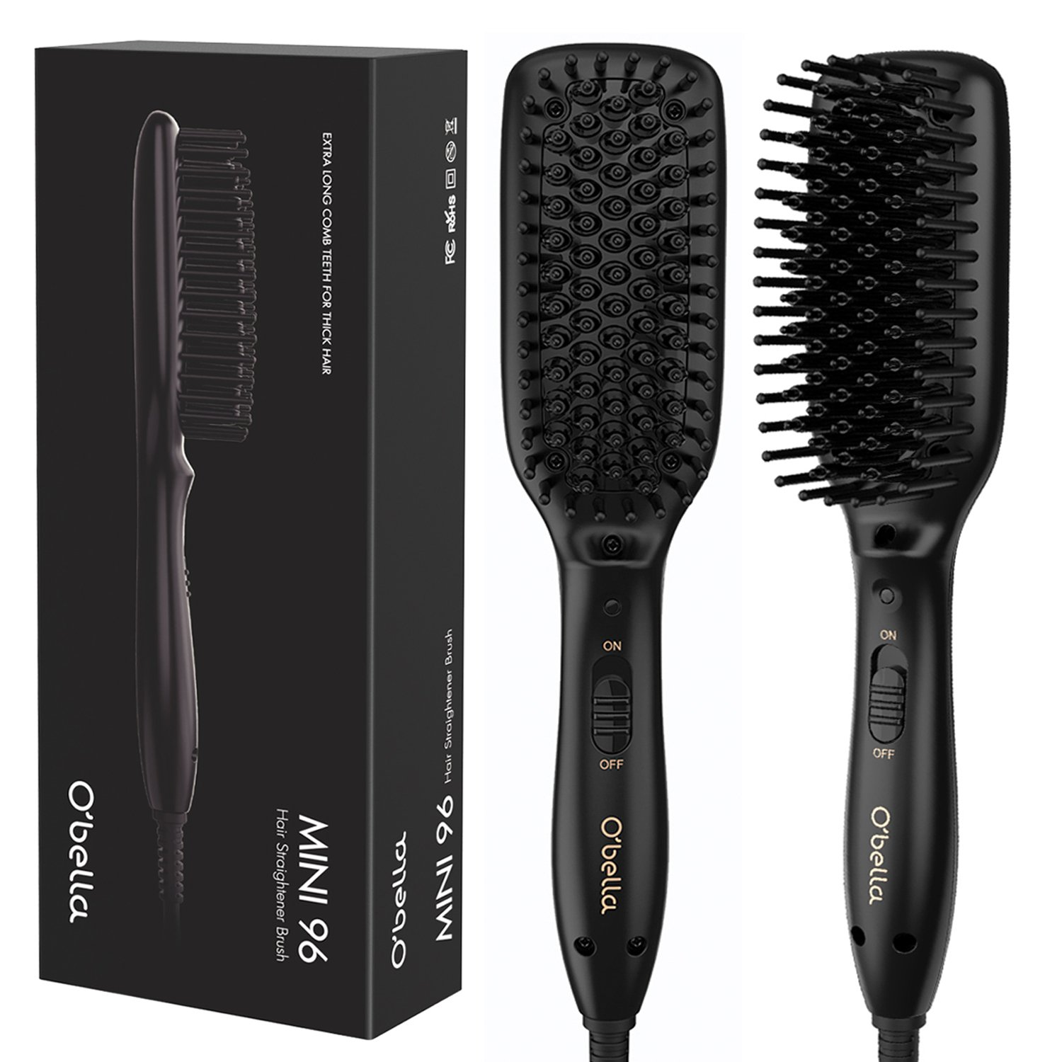 O'Bella Hair Straightener Brush Dual-Voltage 45 Second Fast Heat Up, 28mm Long&High Density Comb Teeth Anion Hair Straightener Brush for Long Curly Hair by O'Bella