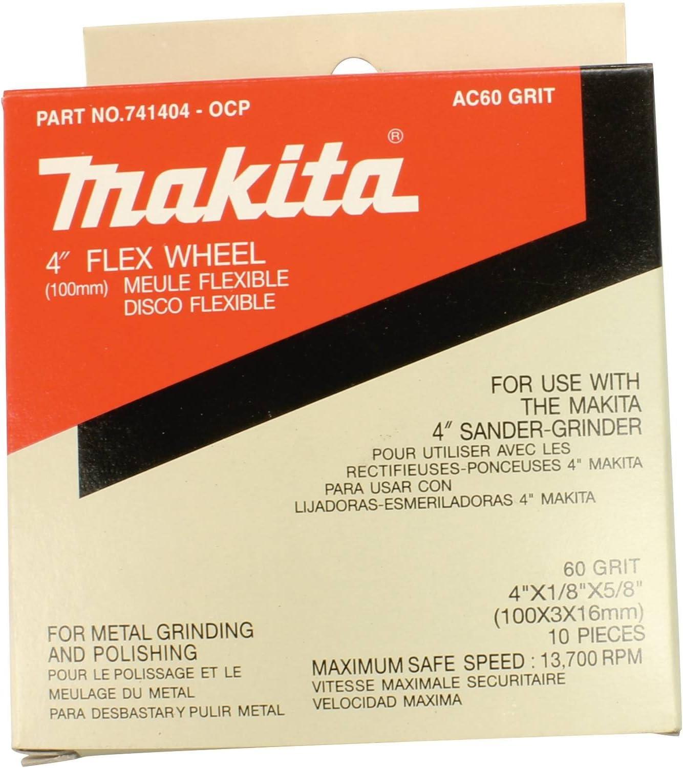 10-Pack Makita 741404-0CP 4-Inch Flex Wheel #60