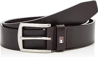 Tommy Hilfiger Denton C Cinturón con Hebilla Redondeada Plateada y Logo para Hombre