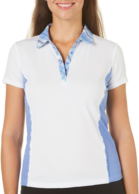 Izod Golf Womens Plaid Collar Polo Shirt Medium At Amazon Womens