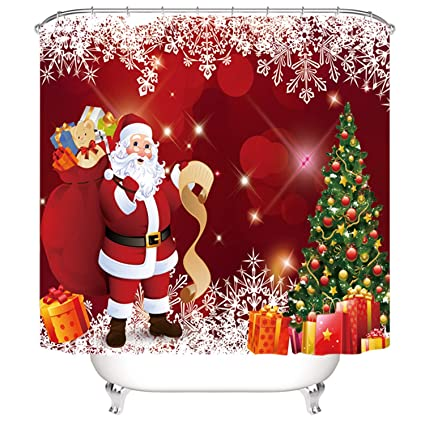 Christmas Bathroom Curtains.Broshan Christmas Shower Curtains For Bathroom Winter Holiday Red Santa Claus Christmas Tree With Ornaments Presents Snowflakes Decor Shower Curtain
