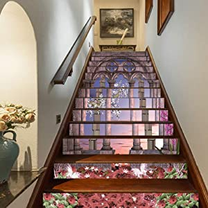 """Gothic Staircase Stickers,Ancient Colonnade in Secret Garden with Flowers at Sunset Enchanted Forest Self-Adhesive Wall Stair Stickers Mural Wallpaper for Home Decor,39.3""""x7""""x13PCS"""