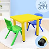 Kid's Adjustable Square Table Chair 3pc Set-1x Yellow Table 1xGreen Chair 1xBlue Chair