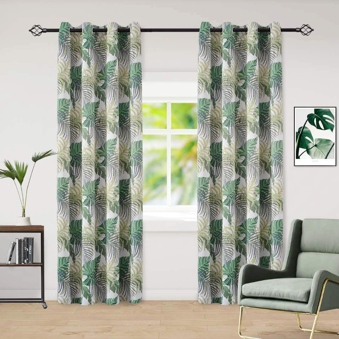 QQHOME Printed Blackout Curtains Bedroom Greenery Floral Patterns - Grommet Thermal Insulated Room Darkening Vintage Curtains Living Room, 2 Panels (52 x 63 Inch, Green)