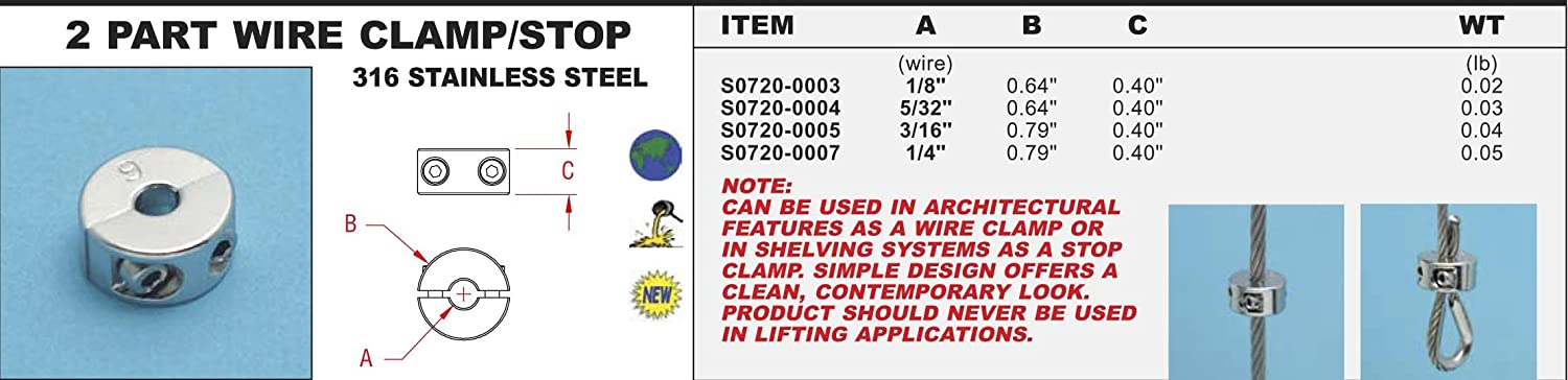 316 Stainless Steel 2 Part Wire Clamp/Stop 5/32\
