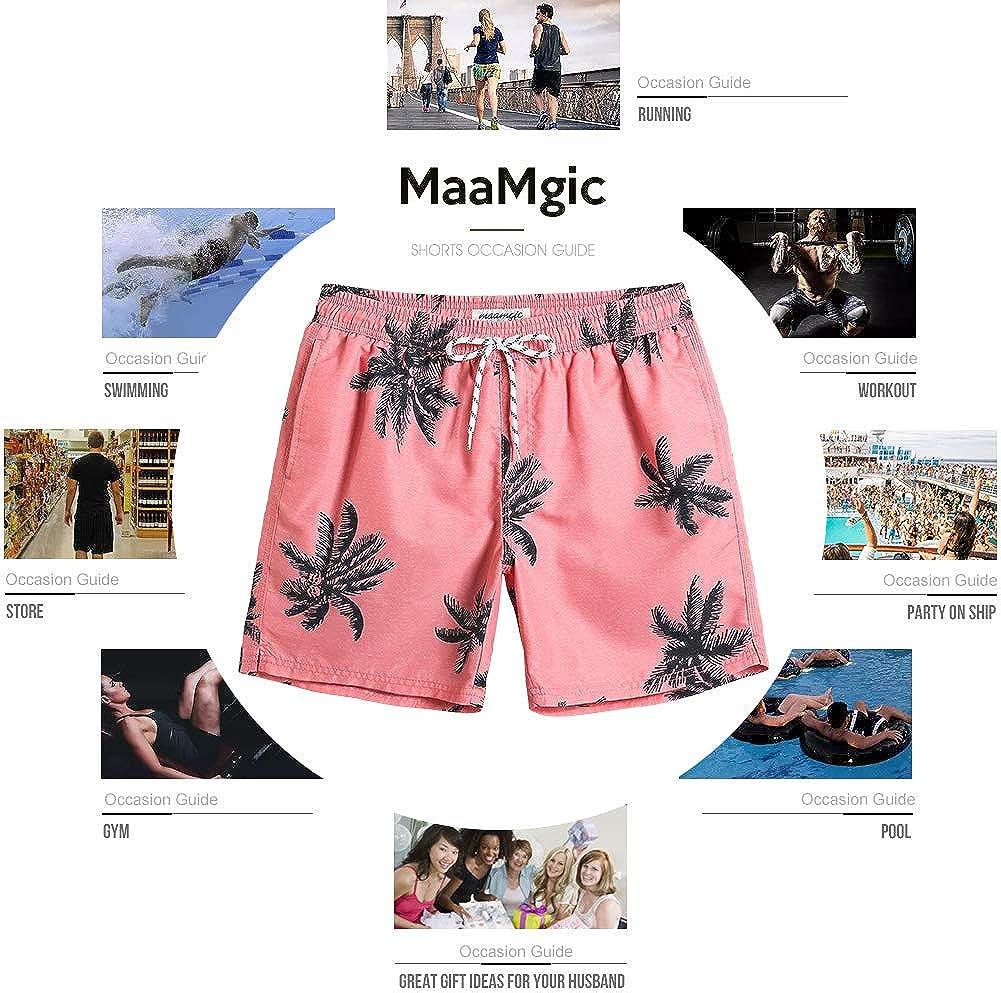 MaaMgic Badehose Herren Schnelltrocknende Badeshorts Jungen Strand Strandurlaub Surf Freizeit Laufen Sport mit Netzfutter Taschen einstellbare Kordelzug MEHRWEG-L-Blau Gestreift