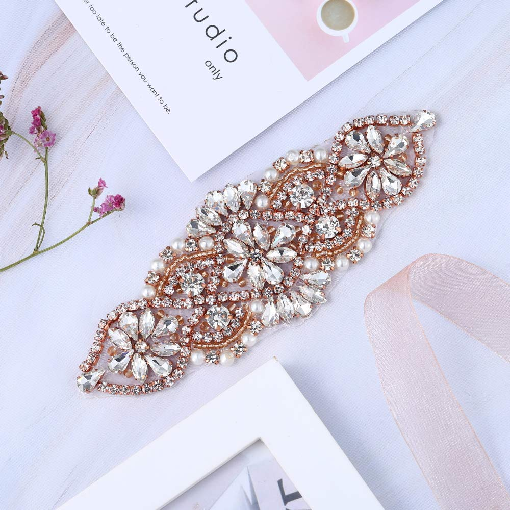 XINFANGXIU Rose Gold Small Beaded Crystal Decorative Patch Rhinestone  Applique with Beaded Pearls Embellishments Sew Iron on Hot Fix for Bridal  Wedding ... e571e01e1298