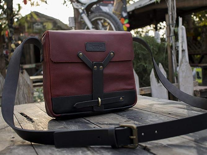 cb98c75063 Amazon.com  Trip Machine Company Leather Vintage Messenger Bag Satchel -  Cherry Red  Handmade