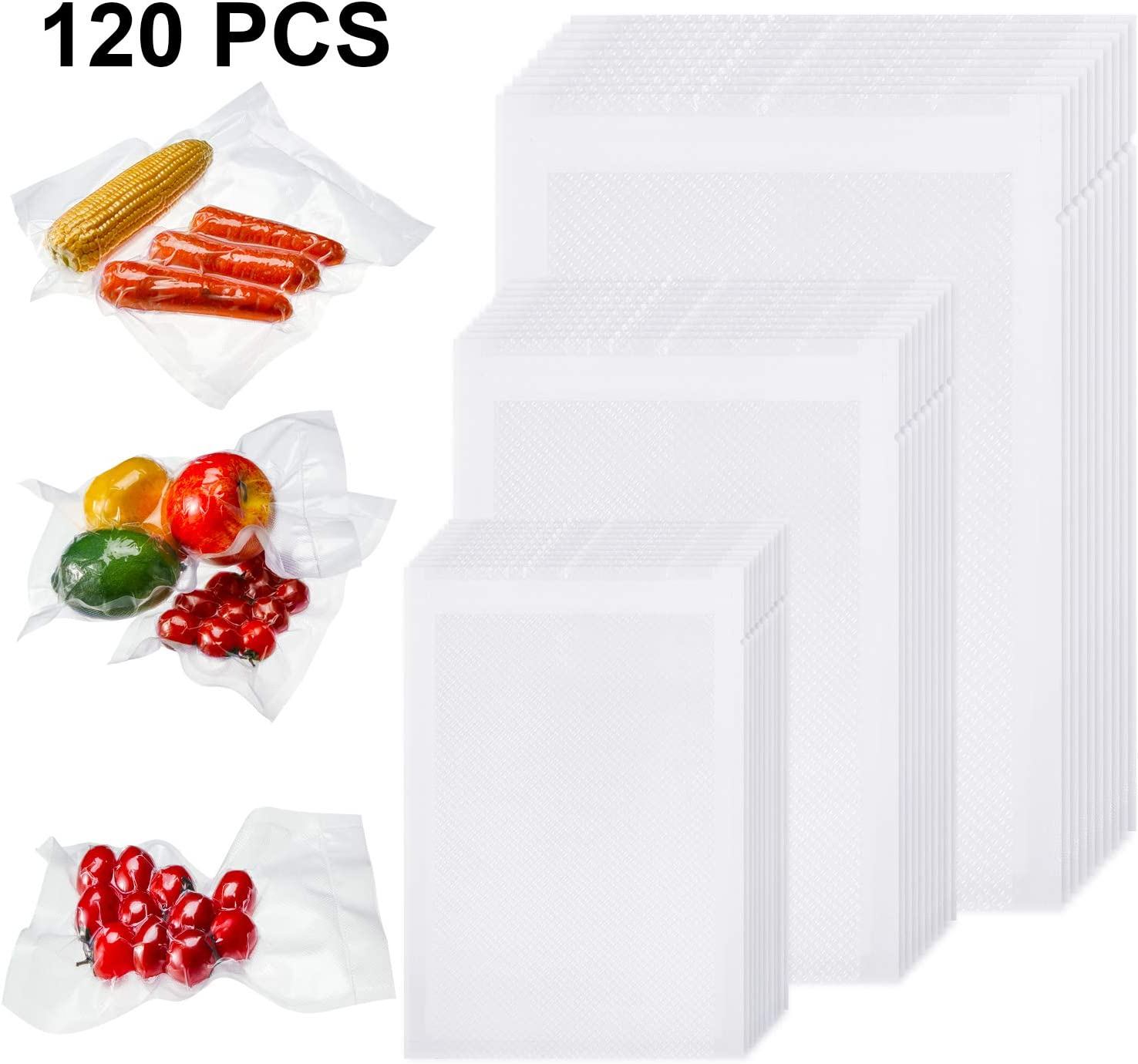 Outus 120 Pieces 4 x 6 Inch, 6 x 10 Inch, 8 x 12 Inch Vacuum Heat-Seal Bags Pre-Cut Seal Bag Vacuum Sealer Bags for Kitchen Food Preservation Supplies