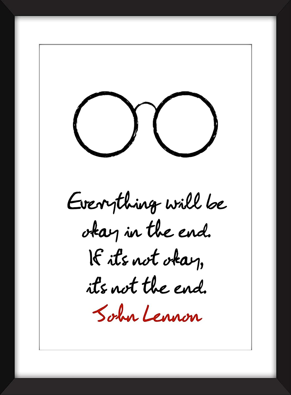 Amazon John Lennon Everything Will Be Okay Quote Unframed