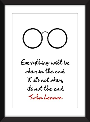 Amazoncom John Lennon Everything Will Be Okay Quote Unframed