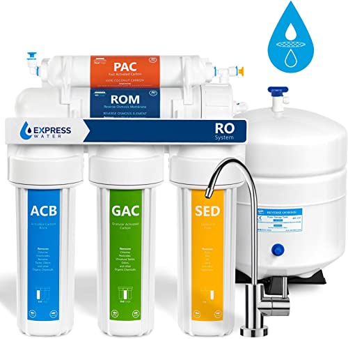 Express Water Reverse Osmosis Water Filtration System 5 Stage RO Water Filter with Faucet and Tank Under Sink Water Purifier 50 GPD
