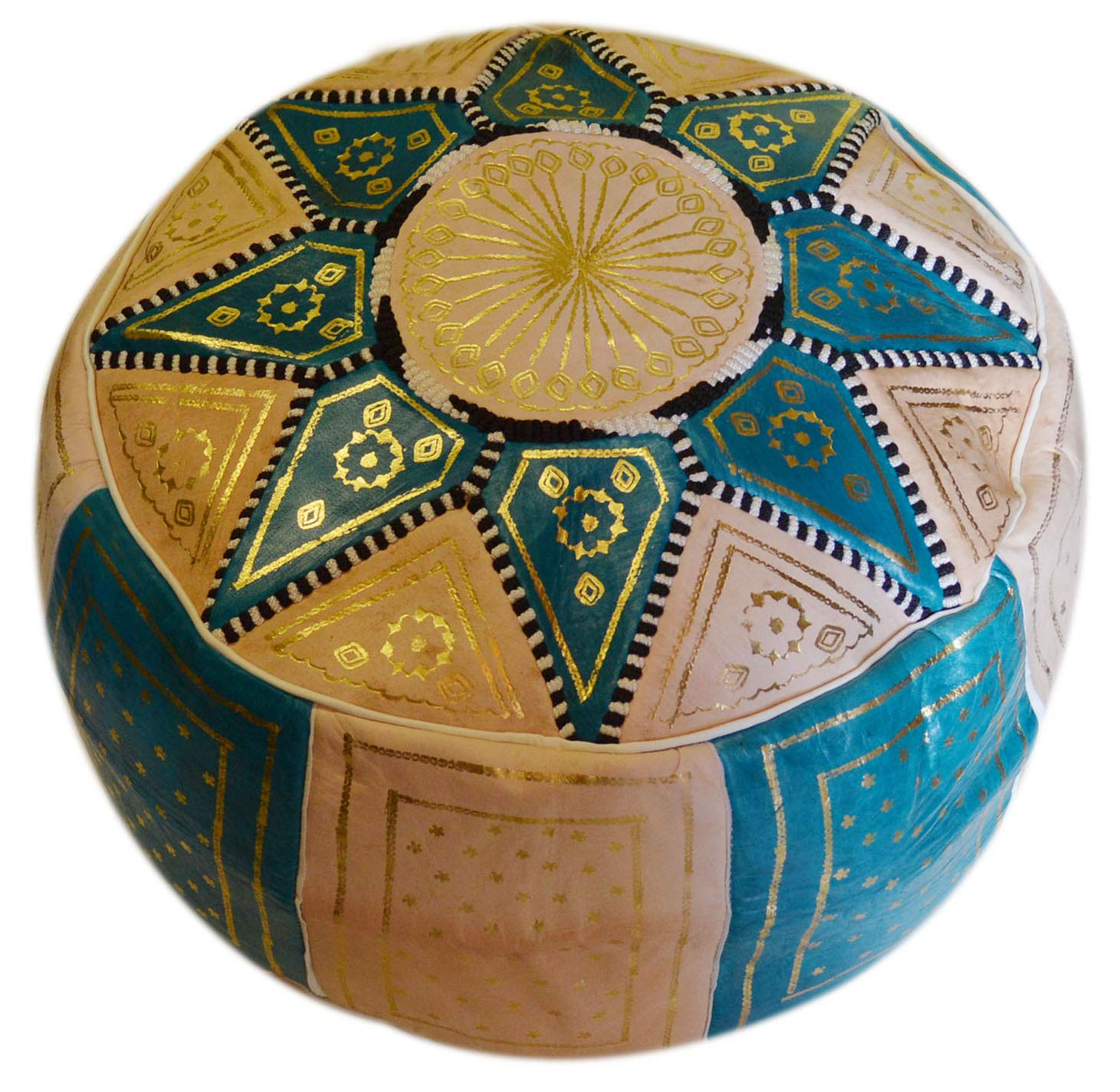 Moroccan Pouf Handmade Leather Luxury Ottomans Footstools Cover High Quality Satisfaction Guaranteed Treasures Of Morocco Poof beige turquoise