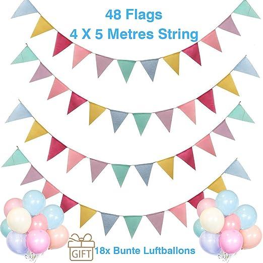 Hook 48 Banderines Guirnalda de Arpillera de Imitación de Triángulo Decoración de Boda Bautizo Fiesta Cumpleaños (4 Cadenas * 12 Banderas),Regalo 18 ...
