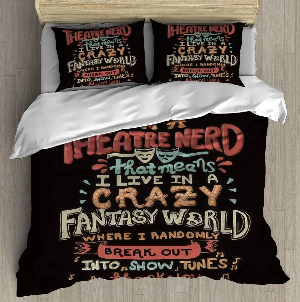 """Duvet Cover Set I'm a Theatre Nerd Bedding Set Comforter Cover with Zipper Closure, Bed Quilt Cover Pillow case for Girls Boys, 90""""x90"""""""