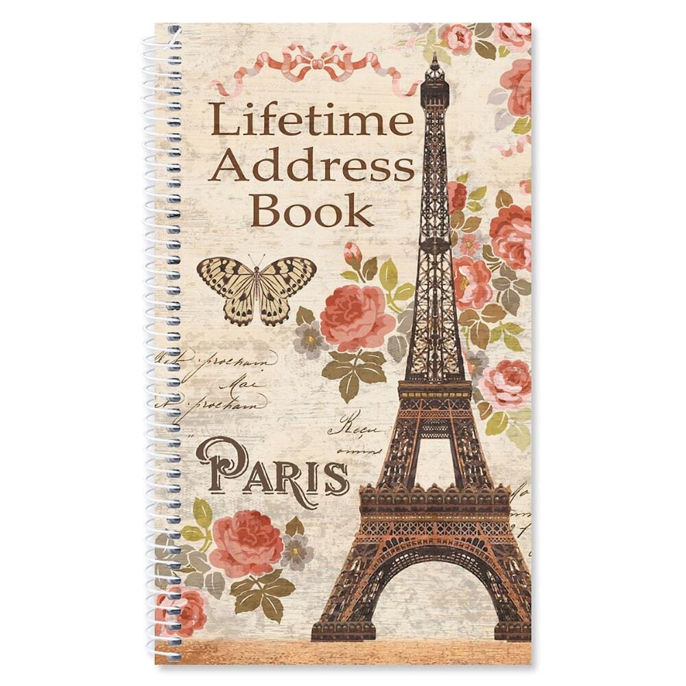 Parisian Postcard Lifetime Address Book - Softcover; 5'' x 8-1/2'', 72 Pages, 50 Blank Stickers