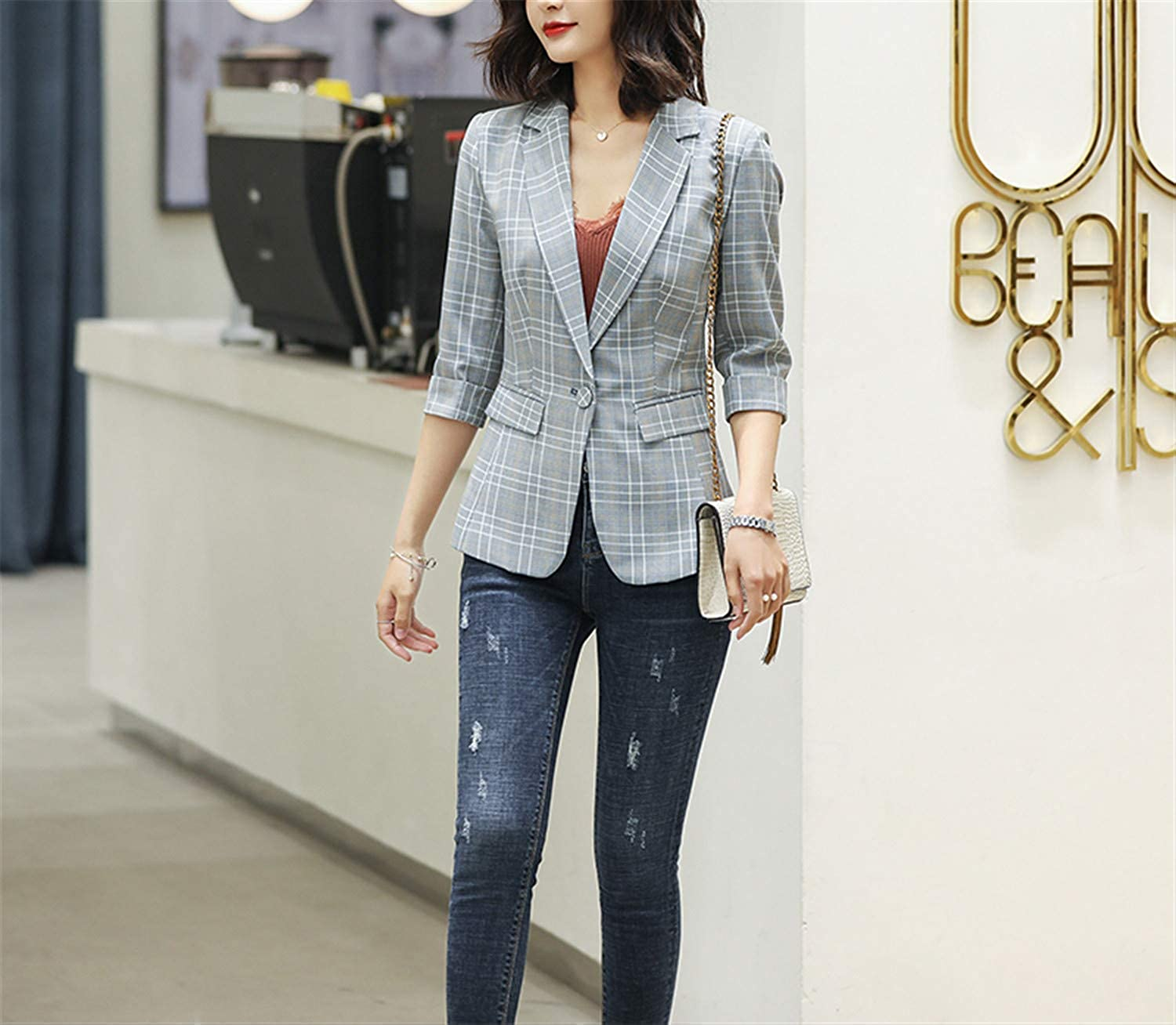 Plaid Jacket for Women Summer Wear Casual Style Breathable Coat Half Sleeve Blazer Breathable Tops Outwear