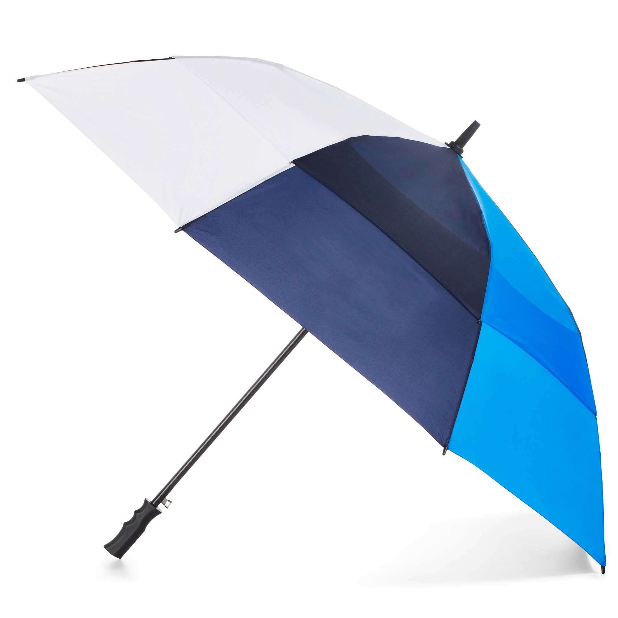 Totes Automatic Open Windproof and Water-Resistant Golf Umbrella, Navy, White, Blue
