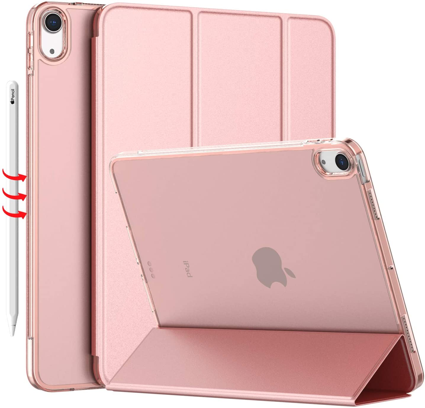 iMieet iPad Air 4 Case 2020 - iPad Air 4th Generation Case 10.9 Inch Lightweight Slim Cover with Translucent Frosted Hard Back [Support Touch ID](Rose Gold)