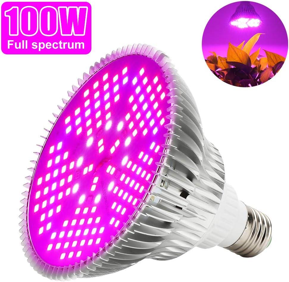 Led Grow Bombilla 100W Espectro Completo LED Planta lámpara 150 Leds Iluminación para plantas para invernaderos hidropónicas Jardín [Clase de eficiencia energética A+]