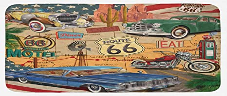 Old Fashion Cars >> Amazon Com Lunarable Route 66 Kitchen Mat Old Fashioned
