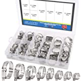 Glarks 65-Pieces 304 Stainless Steel Adjustable 8-44mm Range Worm Gear Hose Clamps Assortment Kit, Fuel Line Clamp for…