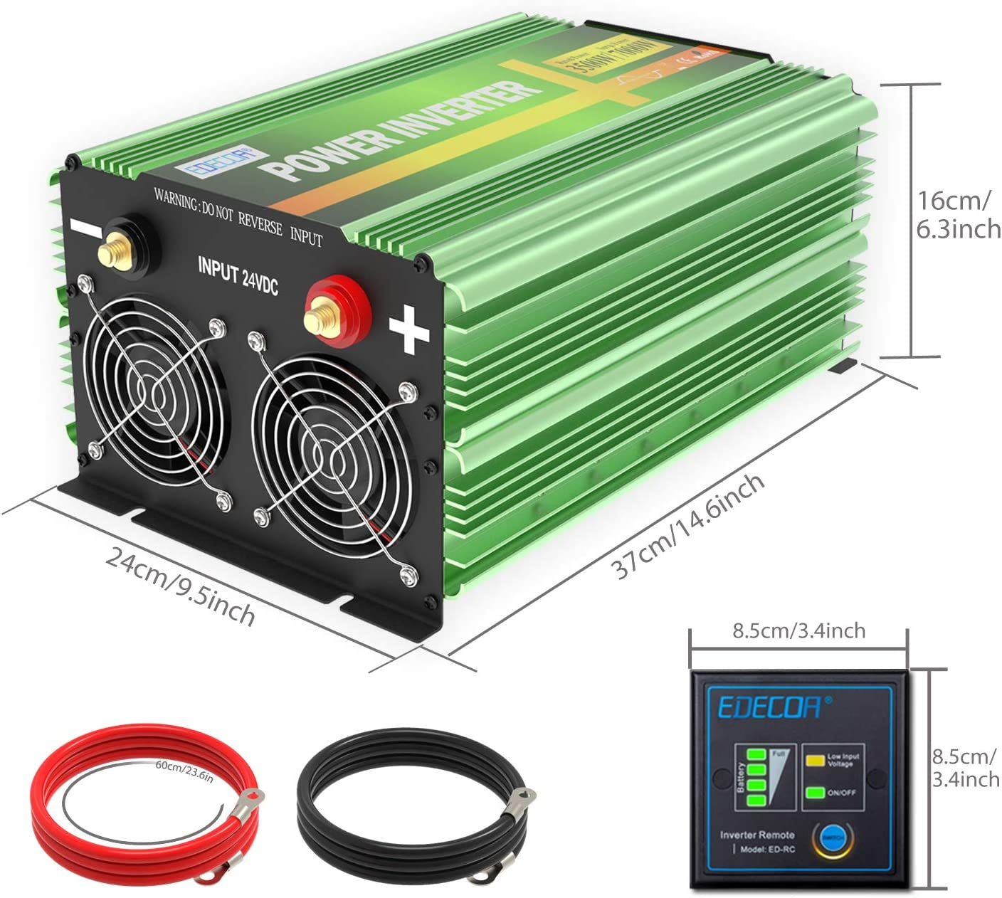 EDECOA Pure Sine Wave Power Inverter 3500W DC 24V to AC 110V 120V 4 AC Outlets and 1 Hardwire Terminal with LCD Display and Remote Controller