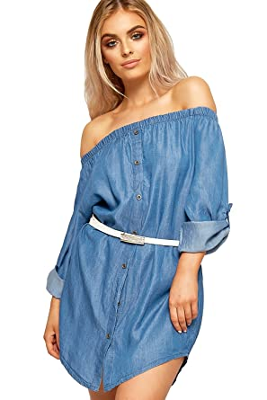 WEARALL Damen Weg Schulter Denim Mini Zigeuner Kleid Top Damen Bardot  Belted Kurz Hülle - 36-42: Amazon.de: Bekleidung