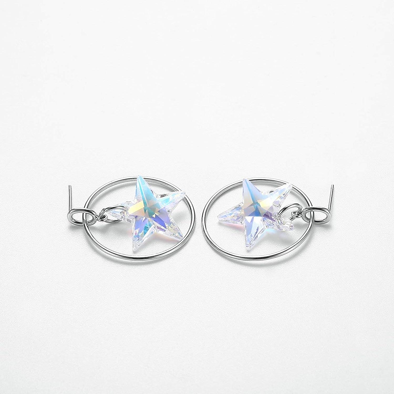 EoCot Silver Plated Earrings Austrian Crystal Star Circle Earrings Stud for Women Girls