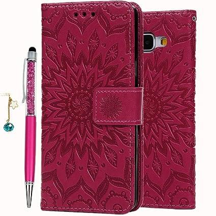 Geniric PU Leder Flip Hülle für Samsung Galaxy A5 2016 Case (Rose Rot Sonnenblume), Wallet Cover in Book Style Stand Kartenei