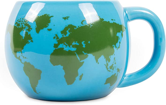 el & groove 3D globe mug in blue, teacup 250 ml (300 ml full to the brim), porcelain coffee mug, world map Worldmap Atlas Destinations, decorative