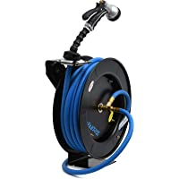 Zephyr Auto-Retractable Garden Hose Reel with Rubber Water Hose & Spray Gun - Never Coil a Garden Hose again. Save Water, Time & Effort,Blue
