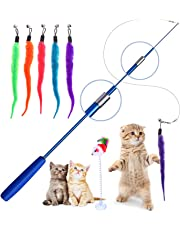 Cat Feather Toys, Retractable Cat Stick Cat Teaser for Pet Cat Kitten Interactive, Blue
