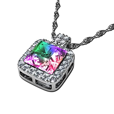15dd29066402 DEPHINI - joyeria mujer - Aurore Boreale Collar - Swarovski® cubo cristal - Colgantes  Plata