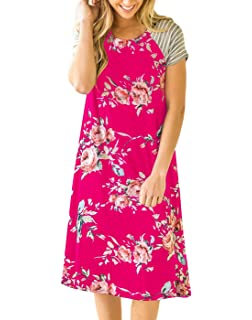 2e121e1eb137 Vemvan Women s Floral Print Casual Short Sleeve A-Line Loose T-Shirt  Dresses Knee