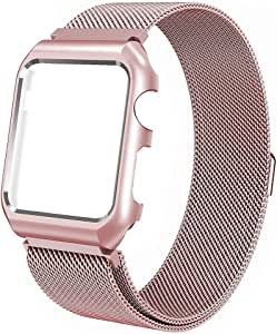 Magnetic Milanese Loop Stainless Steel Metal Band For Apple iWatch 38mm Rose Gold