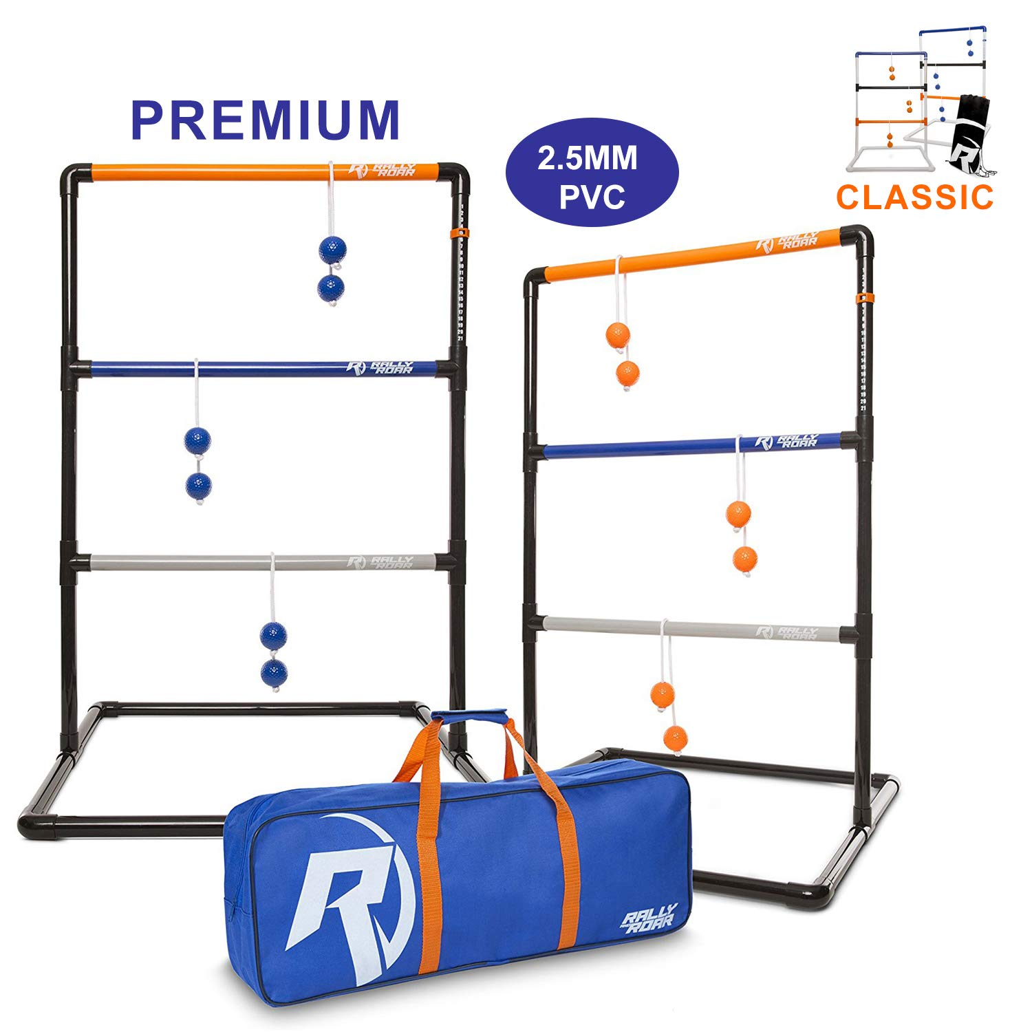 Rally and Raor Premium Ladder Ball Toss Game for Adults, Family - Outdoor Ladders Set with Canvas Bag, Resin Bolos, and Thick PVC Piping - Backyard Games, Activities for Parties - Pro Series