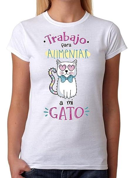 Camiseta Trabajo para Alimentar a mi Gato. Ideal para Chicas Divertidas Que aman a Sus