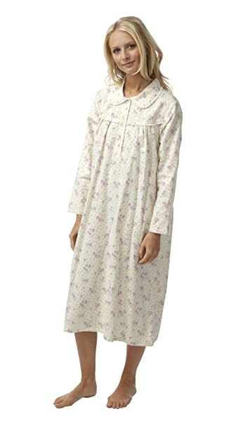 Ladies Floral Print Long Sleeved Winceyette Nightdress with Peter Pan  Collar. Pink Lilac. 8 a5b901ad5